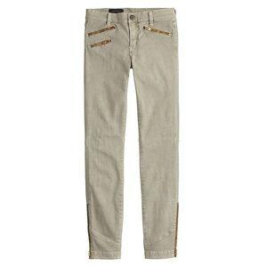 J Crew Toothpick Khaki Pants with Zips Sz 28 TALL